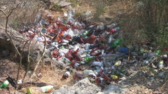 RUSSIA- 2010: Ecology. Pollutions in the forest. Garbage on the ground Stock Footage