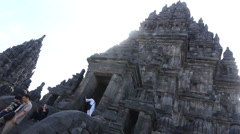 Entrance to the temple of Prambanan in Java Stock Footage