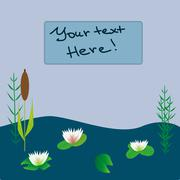 Lake boat plants cartoon vector illustration Piirros