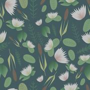 Lake plants flora pattern vector illustration background - stock illustration