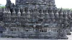 Facade of the temple Prambanan Stock Footage
