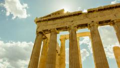 Stock Video Footage of Acropolis parthenon timelapse, pillars bright sunny sky