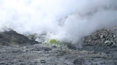 Large clouds of sulphur steam arise from multiple sulphur vents - Wide Shot Stock Footage