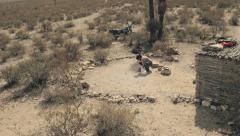 Camping in desert Stock Footage