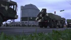 Military vehicles on the streets of Minsk. 9 May 2015 - 13. slow motion Stock Footage