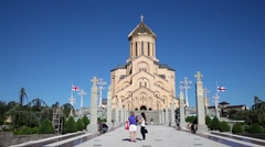 View on Tsminda Sameba Cathedral in Tbilisi Stock Footage