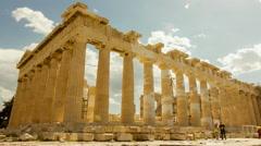 Acropolis parthenon site timelapse pillars bright sunny sky - stock footage