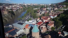Panorama city view of Tbilisi from cable car Stock Footage