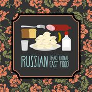 Russian traditional fast food. Vodka and sausage. Russian Folk floral ornamen - stock illustration