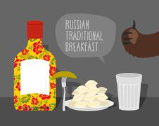 Russian traditional breakfast: vodka, dumplings and pickle. Bears paw. Vector - stock illustration