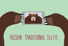 Russian tradition selfie. Bear takes pictures of herself. - stock illustration