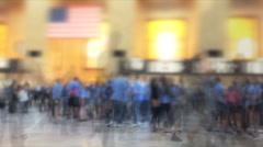 Massive human traffic inside train terminal Stock Footage