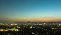 Athens skyline sunset day to night timelapse,aerial Stock Footage