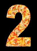 number two cut of pizza - stock photo