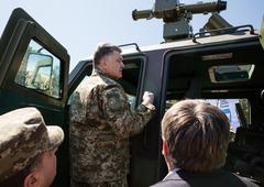 Stock Photo of President of Ukraine Petro Poroshenko at the training center of the Land Forc