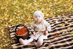 Autumn child and basket with rowan berry Stock Photos
