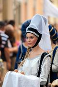 Young damadel Middle Ages at the Palio - stock photo