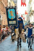 Stock Photo of Parade of medieval knight, Palio