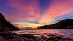 Beautiful moving clouds over ocean at sunset in Phuket, Thailand - stock footage
