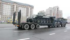 Battle tank is transported in a military vehicle, Russian army Stock Footage