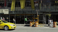 McDonalds arches Manhattan Times Square cars taxi traffic driving 4K NYC Stock Footage