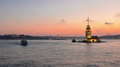 4K Time lapse of Maiden's Tower, Istanbul Stock Footage