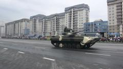 Tanks invasion of the city, armored troop-carrier, invasion, Russian army Stock Footage