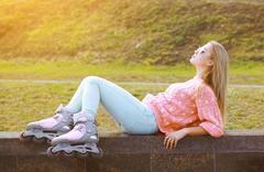 Fashion, extreme, fun, youth and people concept - pretty stylish blonde with  - stock photo