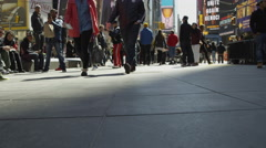 Feet walking, people Times Square slow motion 4K Manhattan NYC Stock Footage