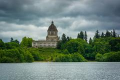 The Washington State Capitol and Capitol Lake, in Olympia, Washington. - stock photo