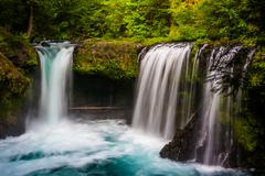 View of Spirit Falls on the Little White Salmon River in the Columbia River G - stock photo