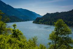 View of the Columbia River, in Cascade Locks, Oregon. - stock photo