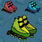 Roller skates illustration  fitness, footwear, free, fun - stock illustration