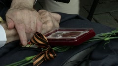 Veterans Day - Elderly vet receiving a medal of honor Stock Footage