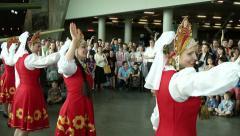 Traditional Russian Dancing at Memorial for Veterans of War Stock Footage