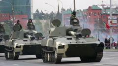 Tank rides through the city, armored troop-carrier, invasion, parade rehearsal Stock Footage