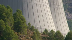 Nuclear cooling tower, tilt up Stock Footage