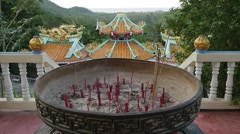 THAILAND CIRCA 2015: Burning many circle incenses in pagoda in asian china templ Stock Footage