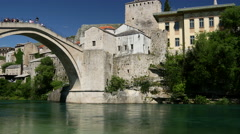Pan from the Stari Most (Old Bridge) Mostar Bosnia and Herzegovina Stock Footage