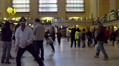 Breakdancer windmills Grand Central Station traveling slow motion 4K NYC Stock Footage