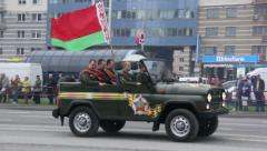 Soviet military passenger cars go on parade formation, Russian army Stock Footage