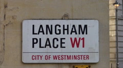 Langham Place sign Stock Footage