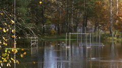 Flooded Sports Field In Autumn Stock Footage