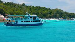Stock Video Footage of Approaching Ko Similan in Thailand by Tour Boat