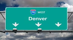 Denver Interstate 70 Freeway Sign Time Lapse - stock footage