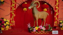 HONG KONG, CHINA - goat statue, from the Chinese zodiak, - stock footage