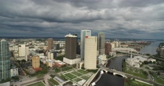 Downtown Tampa Aerial - 4K - stock footage