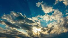 Golden vivid heavenly sunset sky timelapse sun beams and light rays Stock Footage