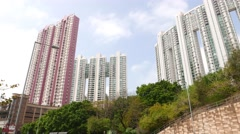 Golden Villa block and Hanley Villa blocks  against blue cloudy sky Stock Footage