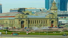May 10, 2015. Main building of famous Kievsky Railway Terminal in Moscow. Stock Footage